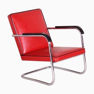 Roter Sessel mit Röhrengestell von Anton Lorenz für Thonet, 1930er