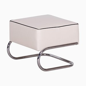 Modernist Tubular Stool in Ivory Leather & Chrome-Plated Steel from Slezák, 1930s