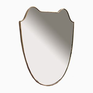 Mid-Century Italian Eared Crest-Shaped Wall Mirror with Brass Frame, 1950s