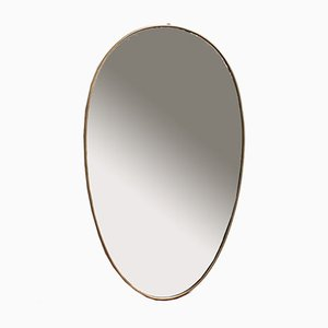 Mid-Century Italian Egg-Shaped Wall Mirror with Brass Frame, 1950s