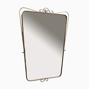Mid-Century Italian Wall Mirror with Brass Frame and Decorative Surround, 1950s