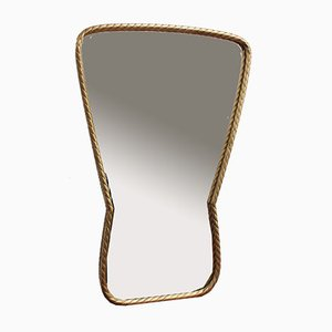 Mid-Century Italian Keyhole-Shaped Wall Mirror with Rope Pattern Brass Frame, 1950s