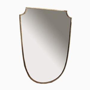 Specchio da parete grande Mid-Century con cornice in ottone, Italia, anni '50