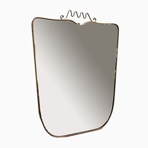 Large Mid-Century Italian Wall Mirror with Brass Frame and Crown Flourish, 1950s