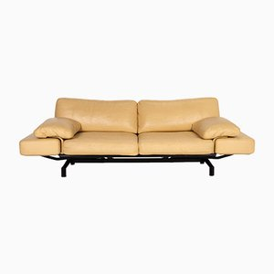Light Yellow Leather Gaetano 687 3-Seat Relax Function Sofa from WOH