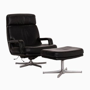 Black Leather Relax Function Armchair & Stool from Walter Knoll, Set of 2