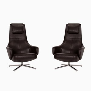 Dark Brown Leather Repos Relax Function Armchairs by Antonio Citterio for Vitra, Set of 2