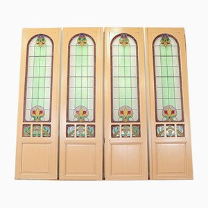 Vintage Art Nouveau Style Stained Glass Doors, 1940s, Set of 2