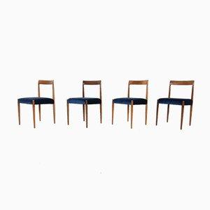 Teak Dining Chairs in Velvet from Lübke, 1960s, Germany, Set of 8