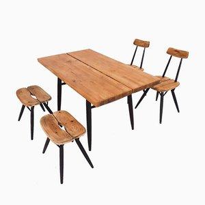 Pirkka Esszimmerstühle von Ilmari Tapiovaara für Laukaan Puu, Finland, 1950er, 5er Set