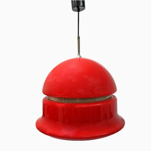 Space Age Plexiglas Pendant Lamp in Deep Red Color with Nickel Side Line, 1960s
