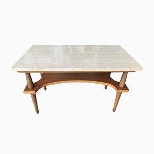 Table Basse en Marbre & Bois, 1960s