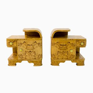 Art Deco Style Bedside Tables, Poland, 1950s, Set of 2
