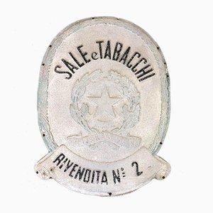 Vintage Schild aus Blech & Holz von Tabacchi Rivendita Nr. 2, 1950er