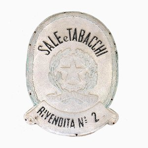 Vintage Tin and Wood Sale e Tabacchi Rivendita No. 2 Sign, 1950s