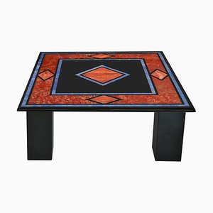 Black Square Coffee Table with Inlaid Slate Top and 4-Slate Columns Handmade in Italy from Cupioli