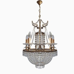 Brass and Crystal Chandeliers, Turin, 1960s, Set of 2