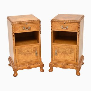 Burr Walnut Bedside Cabinets, 1930s, Set of 2