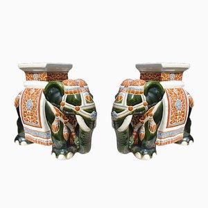 Vintage Ceramic Elephant Flower Beds, Set of 2