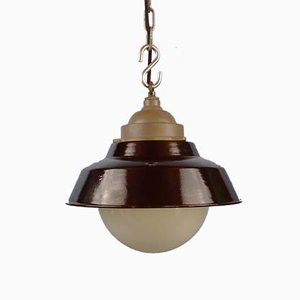 Vintage Swedish Industrial Pendant Lamp with Black Enamel Shade & Opaline Glass Globe from ASEA, 1930s