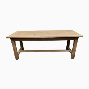 French Bleached Bretagne Oak Farmhouse Kitchen Dining Table, 1860s