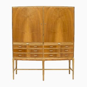 Danish Bow Fronted Walnut & Oak Cabinet, 1950s