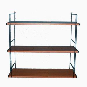 Mid-Century Red-Brown Wood Ladder Shelf, 1960s