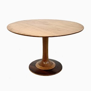 Oak and Rosewood Round Dining Table Attributed to Ico Luisa Parisi, 1950s