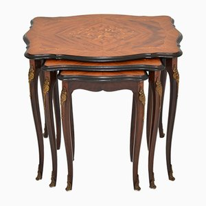 French Inlaid Rosewood Nesting Tables, 1930s
