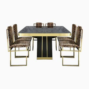 Mid-Century Italian Gilded Metal Chairs & Black Lacquered Wood Dining Table with Brass Finish, 1970s, Set of 7
