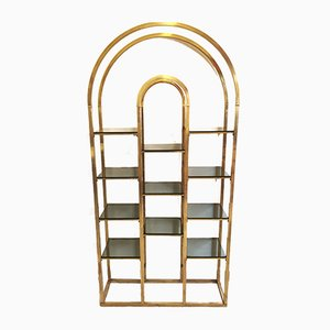 Mid-Century Hollywood Regency Brass and Smoked Glass Bookcase, 1970s