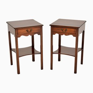 Antique Mahogany Side or Bedside Tables, Set of 2