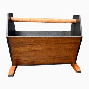 Mid-Century Rosewood & Wrapped Leather Handle Magazine Rack or Book Holder, 1960s