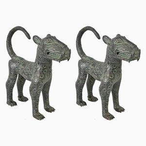 Afrikanische Vintage Leoparden Skulpturen, 2er Set