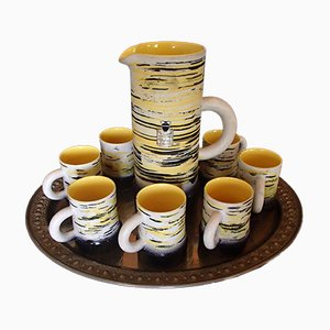 Mid-Century Ceramic Jug with Cups by R.Dufranier, Set of 9
