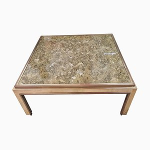 Brass Coffee Table in the Style of Romeo Rega, 1960s