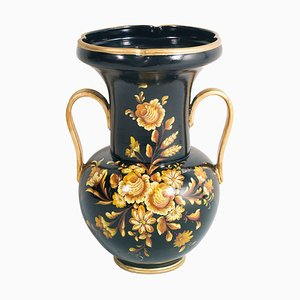 Large Mid-19th Century Neoclassical Hand-Decorated Terracotta Vase by Telatin for Nove Bassano, 1848