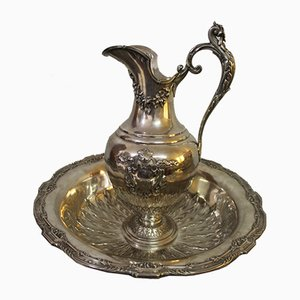 19th Century Ewer and Basin Set in Silver