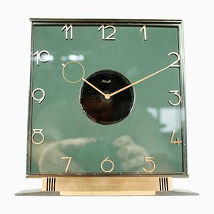 Art Deco Glass & Brass Table Clock by Heinrich Möller for Kienzle International, 1930s