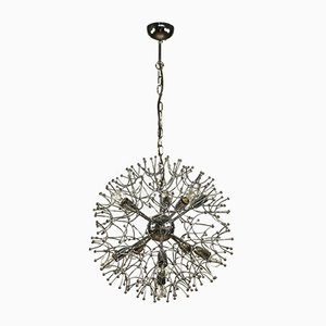 Large Chrome Dandelion Sputnik Ball Pendant Lamp by Gaetano Sciolari, 1960s