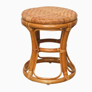 Bamboo and Rattan Woven Stool, 1960s