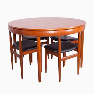 Mid-Century Teak Dining Table & Chairs Set by Hans Olsen for Frem Røjle, 1960s, Set of 5