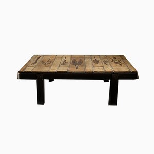 Wood and Ceramic Coffee Table by Roger Capron, 1960s