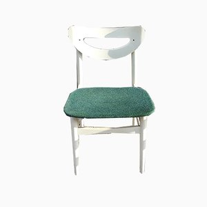 Vintage White Lacquered Wood & Green Wool Dining Chairs, 1970s, Set of 6