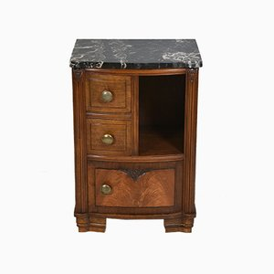 French Art Deco Walnut and Marble Bedside Cabinet Table, 1930s