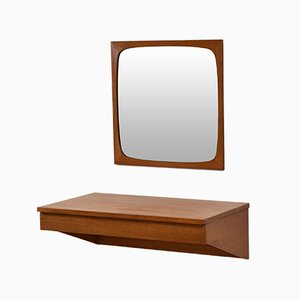 Mid-Century Danish Teak Floating Dressing Table & Mirror, 1960s, Set of 2