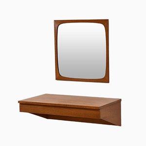 Tocador danés Mid-Century de teca con espejo, años 60. Juego de 2
