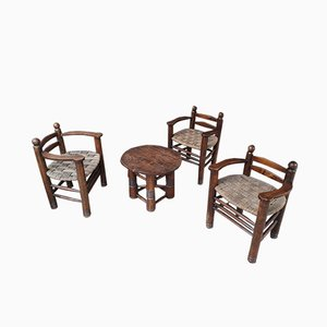 Living Room Set by Charles Dudouyt, 1930s, Set of 4