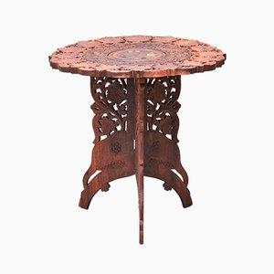Vintage Anglo Indian Mahogany Leaf Carved Encrusted Foldable Side Table