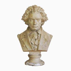Large Antique Beethoven Bust in Plaster by Ernst Julius Hähnel for Gebrüder Weschke Dresden